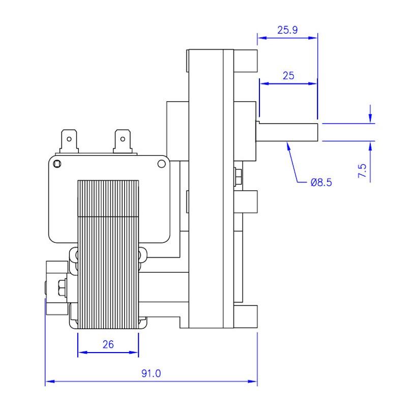 Gear Motor Mellor fb1187 2rpm