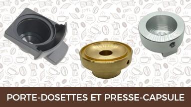 Porte-dosettes, presse-capsules et plusieurs pour systèmes de distribution